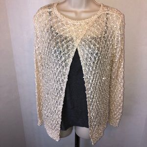 CROCHETED OPEN FRONT CARDIGAN